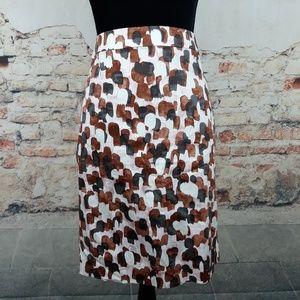J Crew 6 Brown Pink Print Cotton Pencil Skirt
